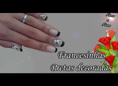 Francesinhas Pretas Decoradas Manual Bela e Simples Nail Art