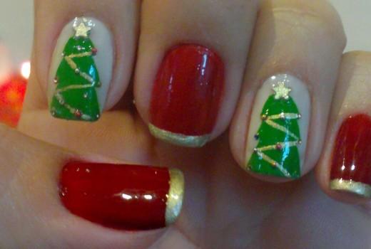 Unhas Decoradas Árvore de Natal Manual Bela e Simples Nail Art