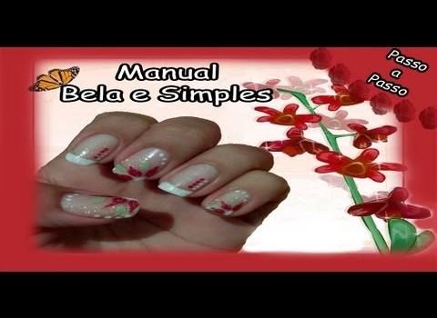 Unhas Meia Flor Manual Bela e Simples Nail Art
