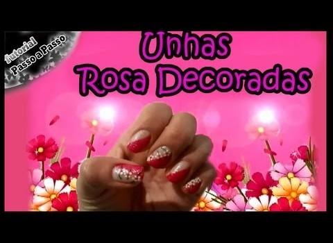Unhas Rosa Decoradas Manual Bela e Simples Nail Art