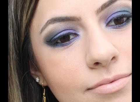 Aprenda fazer Maquiagem Lilás e Azul Marinho