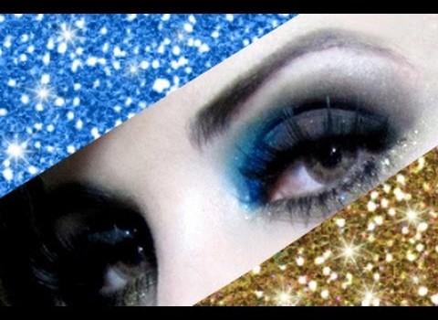Como fazer Maquiagem com Glitter Azul e Dourado