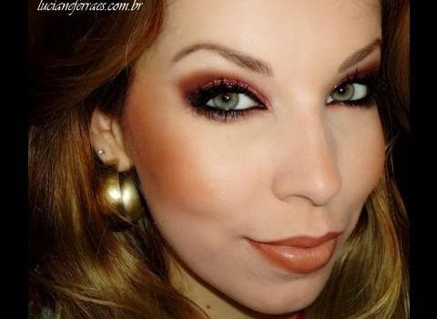 Como fazer Maquiagem Marrom com Glitter