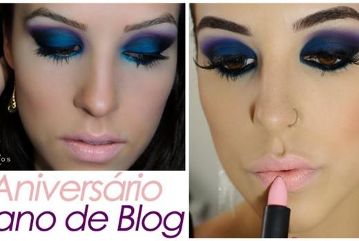 Makeup Azul e Roxa: 1 Ano de Blog