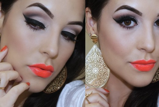 Maquiagem Clássica Opaca + Batom Laranja