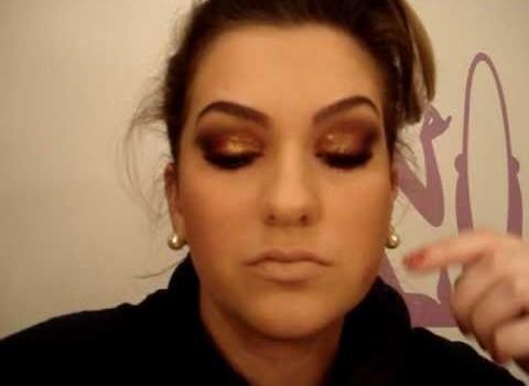Maquiagem com glitter laranja por Alice salazar