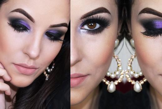 Maquiagem Roxa Fácil para Balada