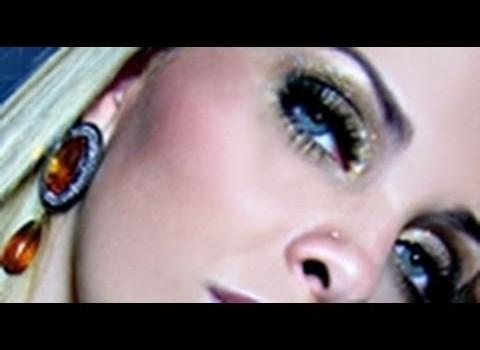 Tutorial de Maquiagem Dourada Glamour