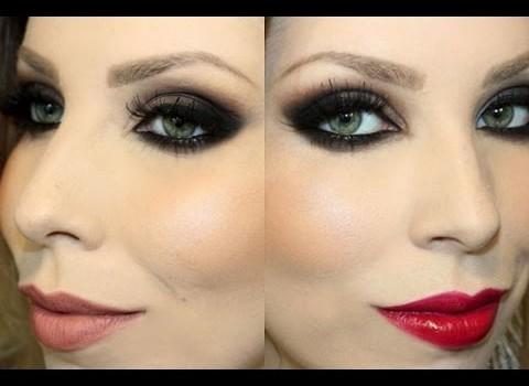 Tutorial para Maquiagem Esfumada com 2 Opções de Batom