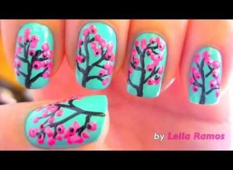 Unhas Cherry Blossom – Nail Art