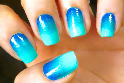 Unhas Decoradas Degrade Mar do Caribe – Caribbean Sea Nail Art