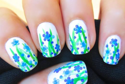 Unhas Decoradas Flores Azuis