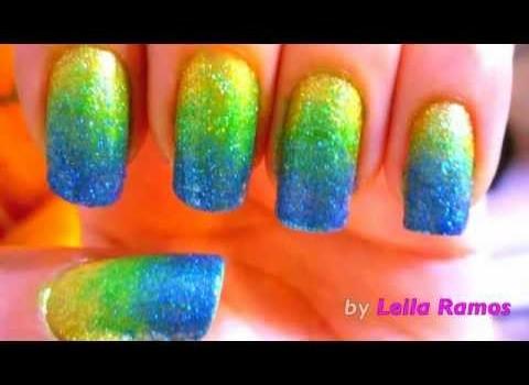 Unhas Degrade/Ombre Cores do Brasil (com Glitter) – Nail Art