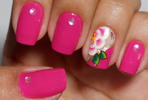 Unhas Rosas Decoradas com Flor Manual Bela e Simples