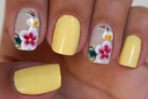 Unhas Decoradas com Flores Manual Bela e Simples